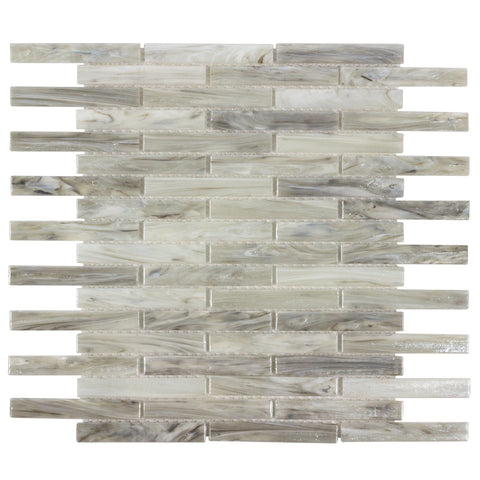 MTO0505 Modern .5X4 Linear Beige Gray Glossy Glass Mosaic Tile - Mosaic Tile Outlet