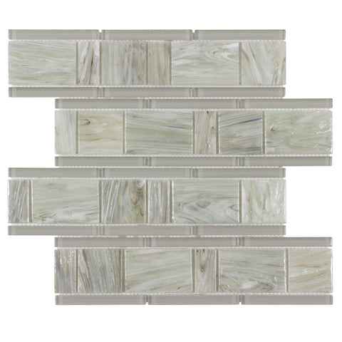 Front MTO0507 Modern Modular Beige Gray Glossy Glass Mosaic Tile
