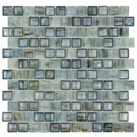 Front of MTO0508 Modern 1X1 Square Blue Beige Metallic Glossy Glass Mosaic Tile