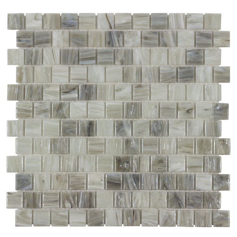 MTO0509 Modern 1X1 Square Gray Beige Glossy Hot Glass Mosaic Tile - Mosaic Tile Outlet