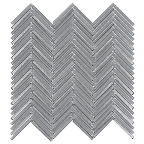 MTO0510 Classic .25X2 Herringbone Gray Metallic Glass Mosaic Tile - Mosaic Tile Outlet