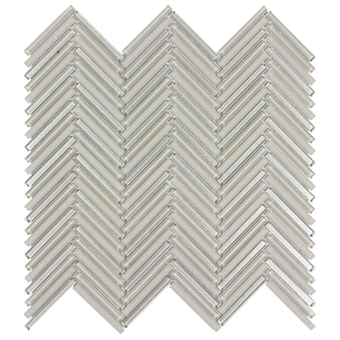 MTO0512 Classic .25X2 Herringbone Beige Metallic Glossy & Frosted Glass Mosaic Tile - Mosaic Tile Outlet