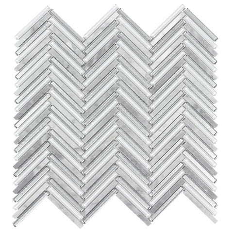 MTO0511 Classic .25X2 Herringbone Gray White Metallic Glossy Glass Carrara Marble Mosaic Tile - Mosaic Tile Outlet