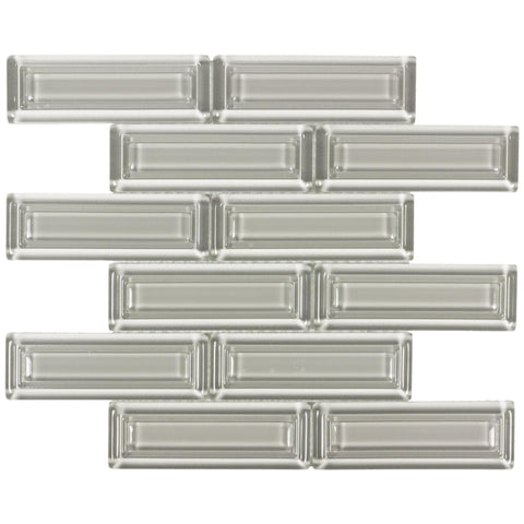 MTO0513 Modern 2X6 Beveled Subway Taupe Beige Glossy Molded Glass Mosaic Tile
