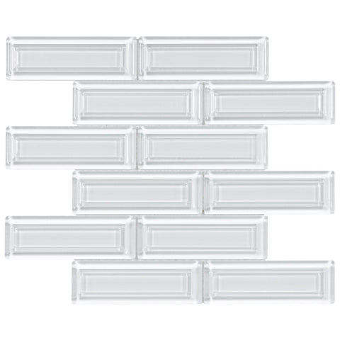 MTO0514 Modern 2X6 Beveled Subway White Glossy Molded Glass Mosaic Tile
