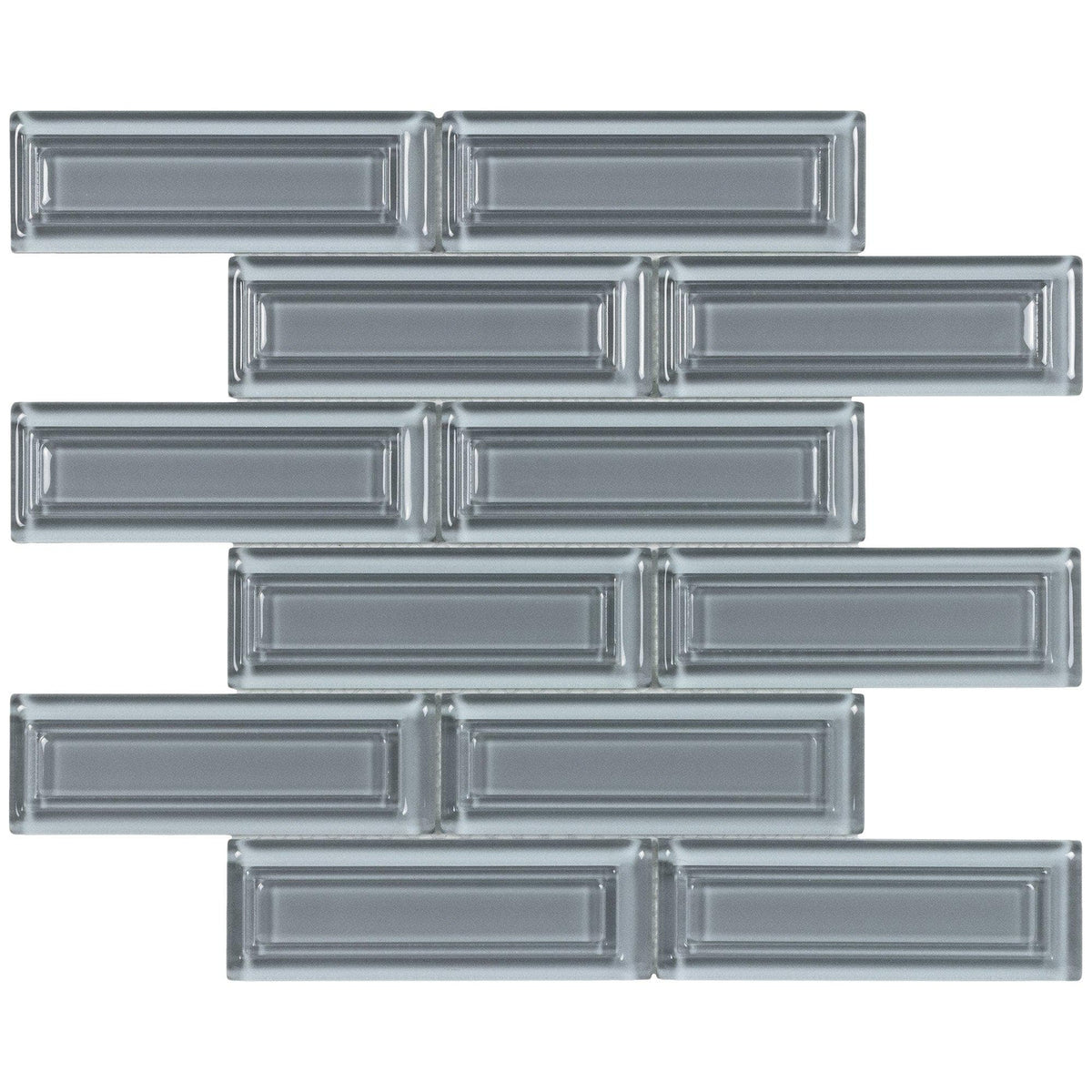2x6 Gray Blue Glass Mosaic Beveled Subway Tile Mto0515