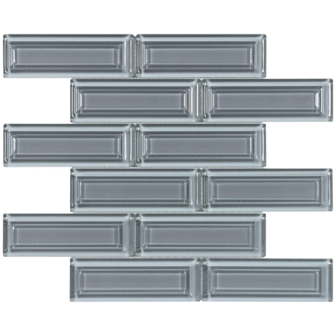 MTO0515 Modern 2X6 Beveled Subway Gray Blue Glossy Molded Glass Mosaic Tile - Mosaic Tile Outlet