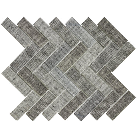 MTO0516 Classic 1X4 Herringbone Beige Gray linen-look Matte Glass Mosaic Tile - Mosaic Tile Outlet