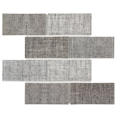 MTO0517 Classic 3X6 Brick Subway Beige Gray linen-look Matte Glass Mosaic Tile - Mosaic Tile Outlet