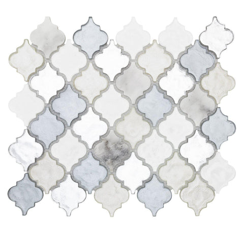 MTO0519 Classic 2X2 Arabesque White Gray Silver Metallic Glossy Glass Mosaic Tile - Mosaic Tile Outlet