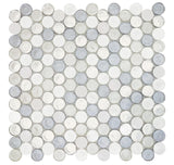 "MTO0520 Modern 1"" Penny Round White Blue Silver Metallic Glossy Glass Mosaic Tile - Mosaic Tile Outlet"