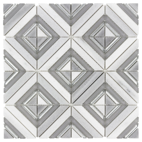 MTO0521 Modern Diamond Square Gray White Glass Carrara Marble Mosaic Tile - Mosaic Tile Outlet
