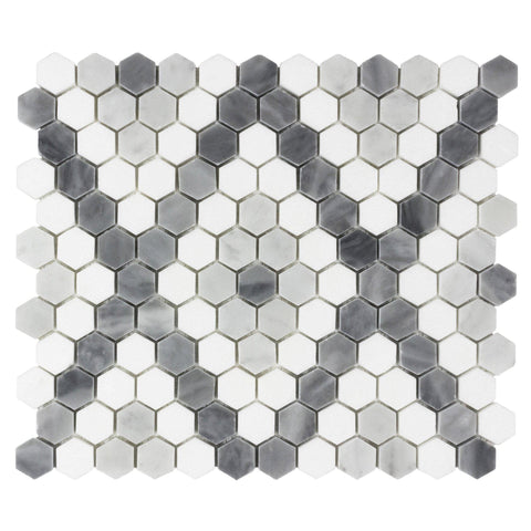 MTO0526 Modern 1X1 Hexagon X Pattern White Blue Gray Stone Mosaic Tile - Mosaic Tile Outlet
