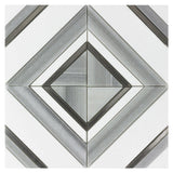 MTO0527 Modern Diamond Square Gray Black White Marble Mosaic Tile - Mosaic Tile Outlet