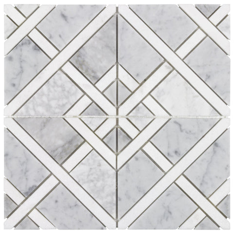 MTO0528 Modern Diamond Square Gray White Carrara Thassos Marble Mosaic Tile - Mosaic Tile Outlet