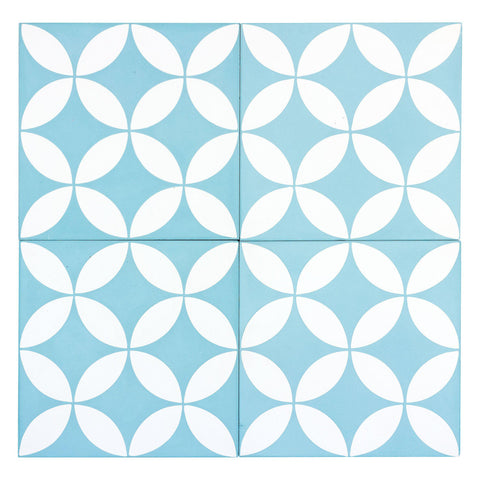 MTO0538 Modern 8X8 Four Leaf Floral Light Blue (Electric Blue) White Matte Cement Tile - Mosaic Tile Outlet