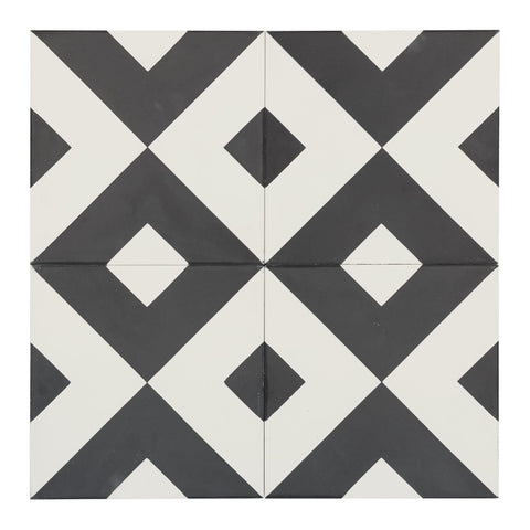 MTO0539 Modern 8X8 Diamond White Black  Matte Cement Tile - Mosaic Tile Outlet