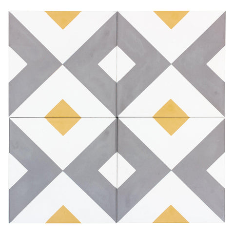 MTO0542 Modern 8X8 Diamond White Gray Yellow Matte Cement Tile - Mosaic Tile Outlet