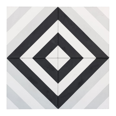 MTO0543 Modern 8X8 Diamond White Light Gray Black Matte Cement Tile - Mosaic Tile Outlet