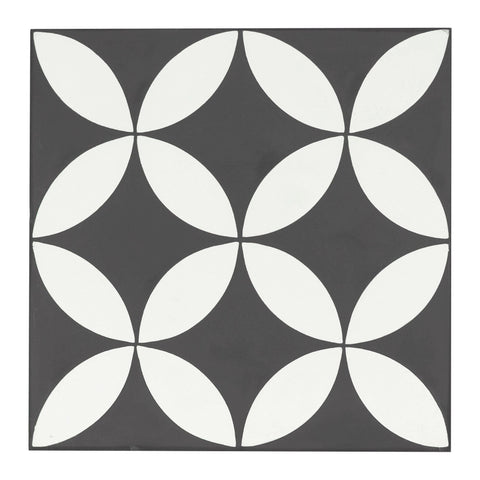 MTO0544 Modern 8X8 Four Leaf Floral Black White Matte Cement Tile