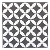 MTO0544 Modern 8X8 Four Leaf Floral Black White Matte Cement Tile - Mosaic Tile Outlet