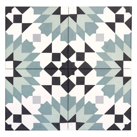 MTO0545 Modern 8X8 Diamond Floral  Jungle Green Tea Green White Gray Black Matte Cement Tile - Mosaic Tile Outlet