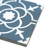 MTO0546 Classic 8X8 Floral Teal White Matte Cement Tile