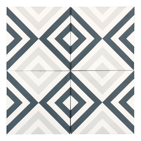 MTO0547 Modern 8X8 Diamond White Teal Light Gray Matte Cement Tile - Mosaic Tile Outlet