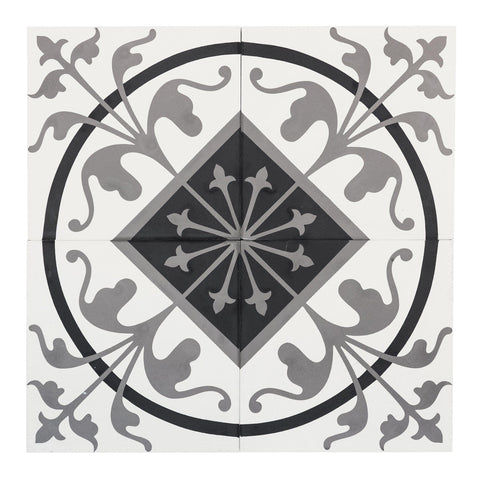 MTO0548 Modern 8X8 Diamond Circular Black White Gray  Matte Cement Tile - Mosaic Tile Outlet