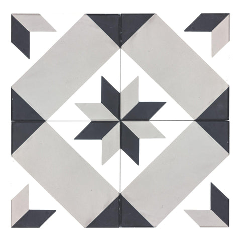 MTO0549 Modern 8X8 Diamond Elongated Hexagon Gray White Black Matte Cement Tile - Mosaic Tile Outlet