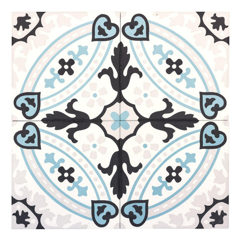 MTO0551 Modern 8X8 Mediterranean Circular Baby Blue Black Light Gray White Matte Cement Tile - Mosaic Tile Outlet