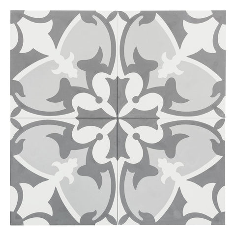 MTO0553 Classic 8X8 Floral White Gray Light Gray Matte Cement Tile - Mosaic Tile Outlet
