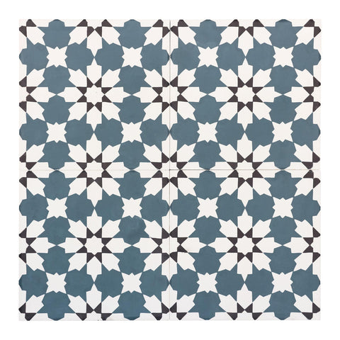 MTO0554 Modern 8X8 Diamond Floral Dark Teal Black White Matte Cement Tile - Mosaic Tile Outlet