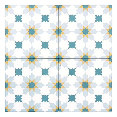 MTO0555 Modern 8X8 Diamond Floral White Teal Sky Blue Yellow Matte Cement Tile - Mosaic Tile Outlet