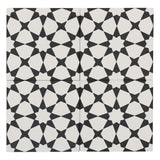 MTO0556 Modern 8X8 Diamond Floral White Black Matte Cement Tile - Mosaic Tile Outlet