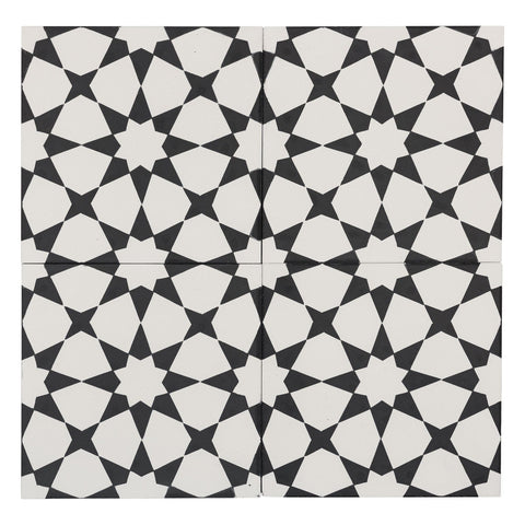 MTO0556 Modern 8X8 Diamond Floral White Black Matte Cement Tile