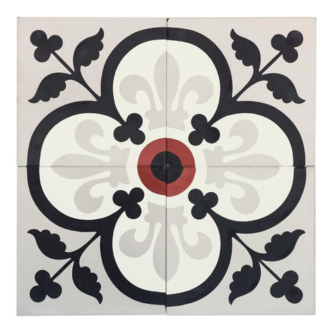 MTO0557 Classic 8X8 Floral White Black Burgundy Red Gray Matte Cement Tile - Mosaic Tile Outlet