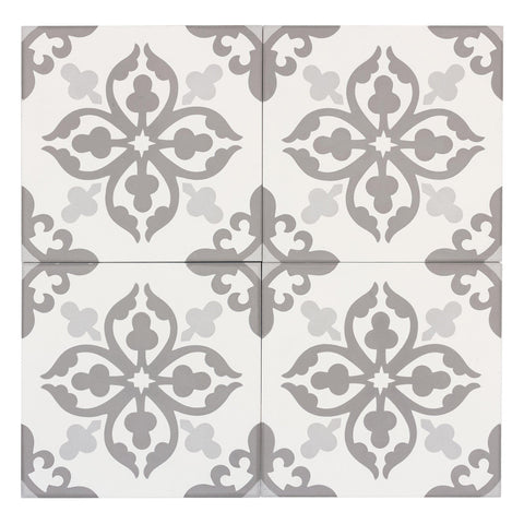 MTO0558 Classic 8X8 Floral Khaki White Light Gray Matte Cement Tile - Mosaic Tile Outlet