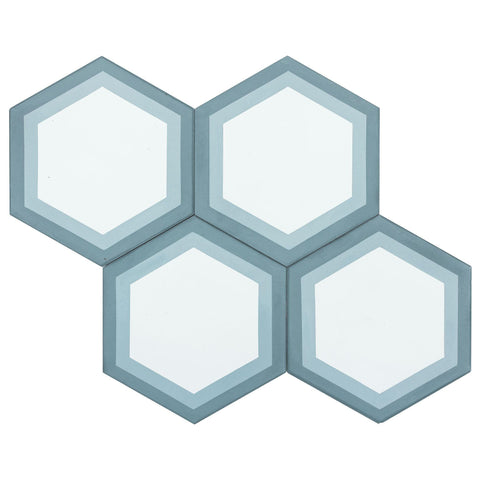 MTO0560 Modern 8X8 Hexagon White Baby Blue Turkish Blue Matte Cement Tile - Mosaic Tile Outlet