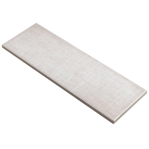 MTO0561 Modern 4X12 Linen-Look Subway White Gray Glossy Ceramic Tile - Mosaic Tile Outlet