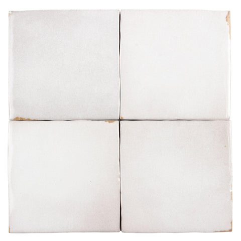 MTO0564 Modern 4X4 White Distressed Glossy Ceramic Tile - Mosaic Tile Outlet