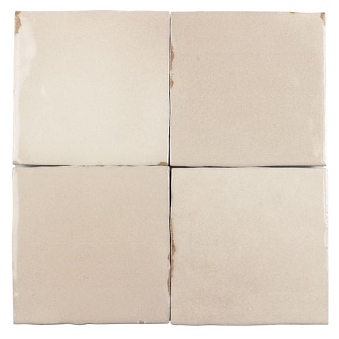 MTO0565 Modern 4X4 Beige Distressed Glossy Ceramic Tile - Mosaic Tile Outlet
