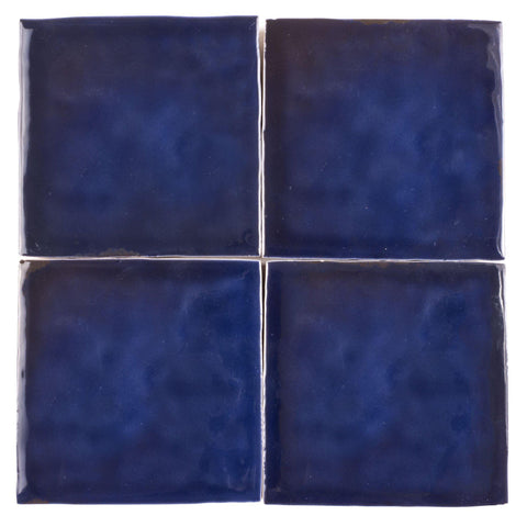 MTO0568 Modern 4X4 Navy Blue Distressed Glossy Ceramic Tile - Mosaic Tile Outlet