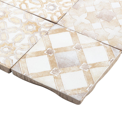 MTO0571 Modern 4X4 White Beige Multi-Pattern Distressed Glossy Ceramic Tile - Mosaic Tile Outlet