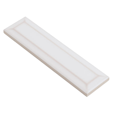 MTO0583 Modern 2X8 Beveled Subway White Distressed Glossy Ceramic Tile - Mosaic Tile Outlet