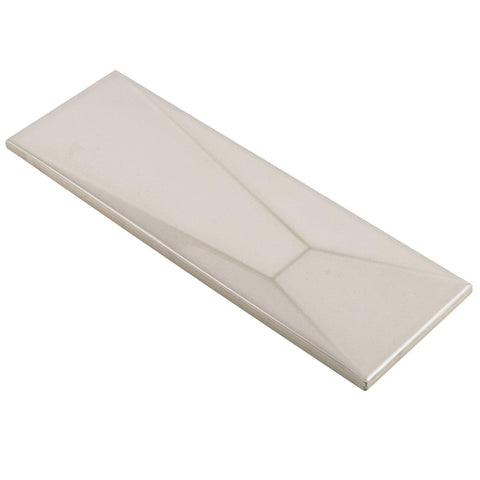 MTO0587 Modern 4X12 Beveled Subway Beige Distressed Glossy Ceramic Tile - Mosaic Tile Outlet
