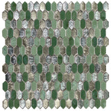MTO0592 Modern 1.2X.6 Picket Green Silver Bronze Glossy Glass Mosaic Tile - Mosaic Tile Outlet