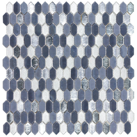 MTO0594 Modern 1.2X.6 Picket Blue Gray Silver Glass Mosaic Tile - Mosaic Tile Outlet