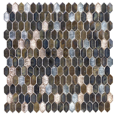 MTO0595 Modern 1.2X.6 Picket Brown Gold Silver Glass Mosaic Tile - Mosaic Tile Outlet