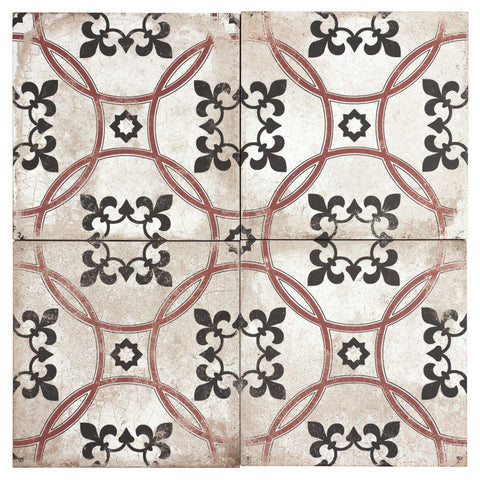MTO0596 Classic 9X9 White Black Red Matte Distressed Porcelain Tile - Mosaic Tile Outlet